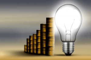 Cash - Gold coin with lightbulb